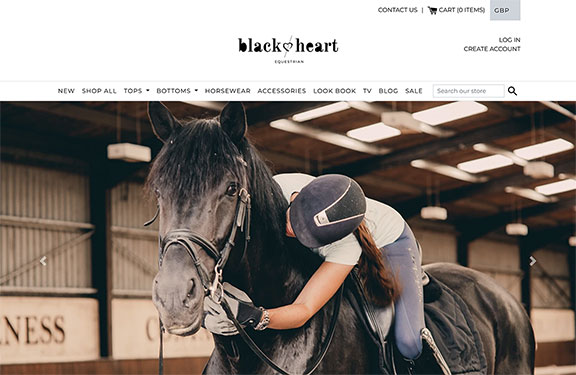 Shopify website development for Black Heart Equestrian desktop