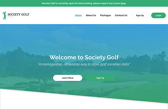 Laravel website development for Society Golf desktop