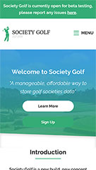 Laravel website development for Society Golf mobile