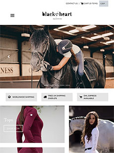 Shopify website development for Black Heart Equestrian tablet