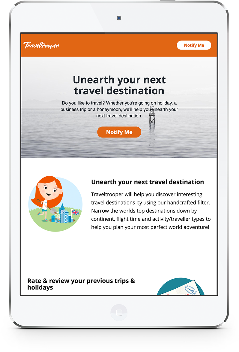 Recent freelance developer project on tablet for Traveltrooper