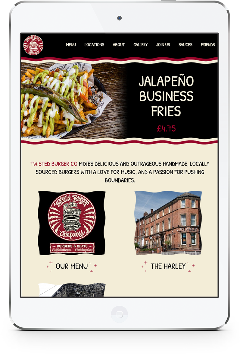Recent freelance developer project on tablet for Twister Burger Co